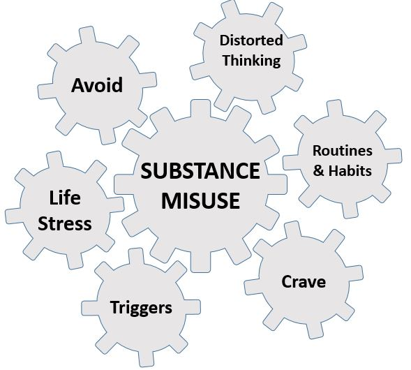 Vicious cogs of substance misuse
